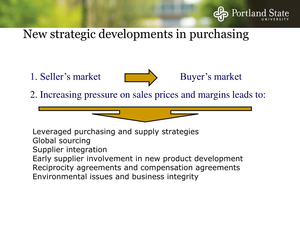 New strategic developments in purchasing