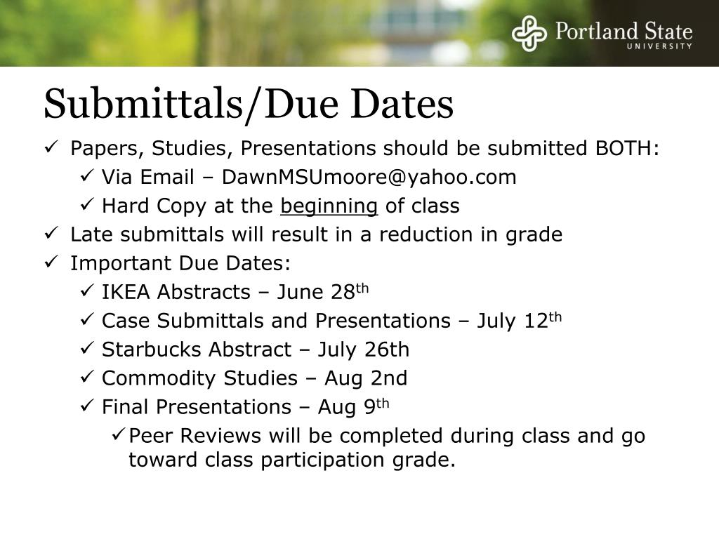Submittals/Due Dates