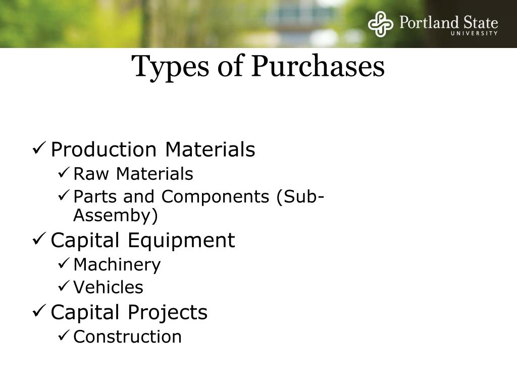 Types of Purchases