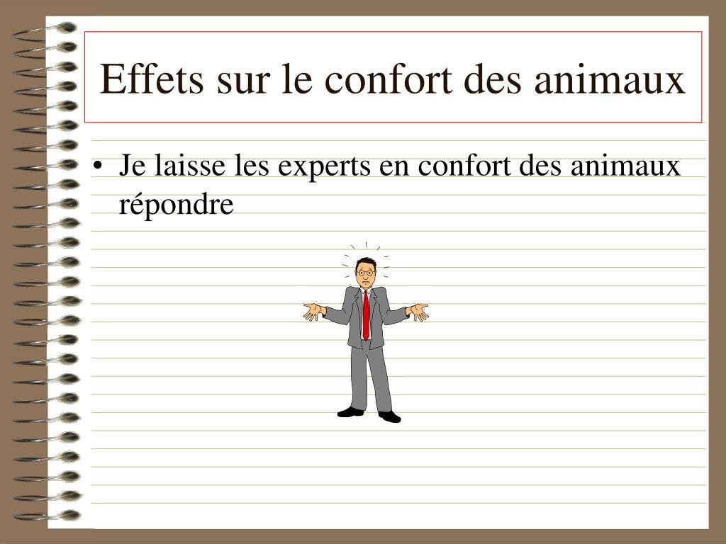 Effets sur le confort des animaux