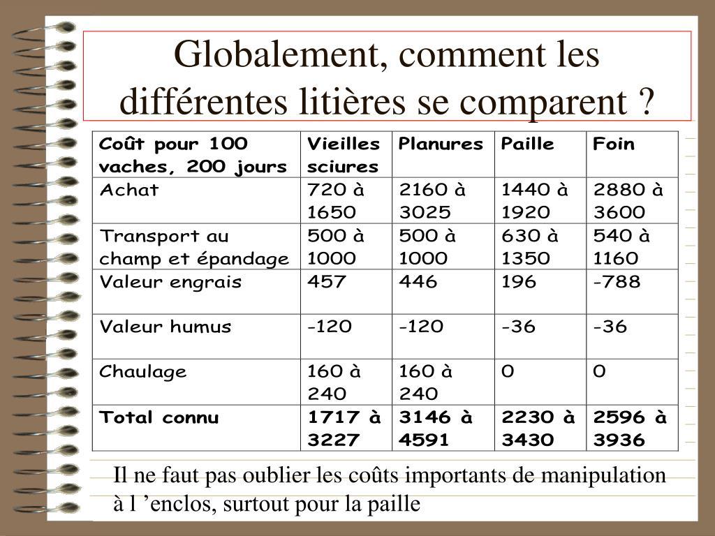 Globalement, comment les différentes litières se comparent ?