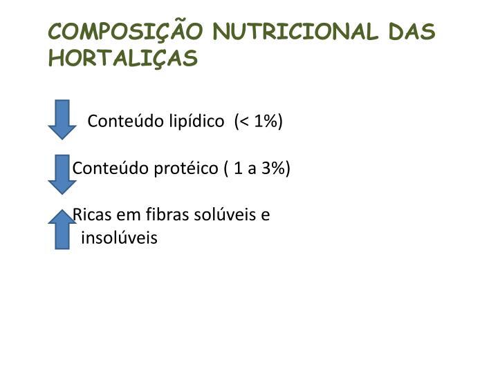Conteúdo lipídico  (< 1%)