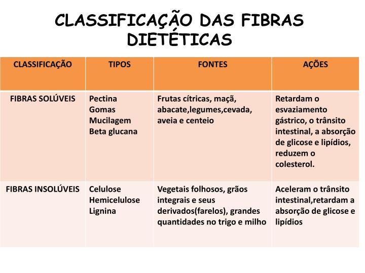 CLASSIFICAÇÃO DAS FIBRAS DIETÉTICAS