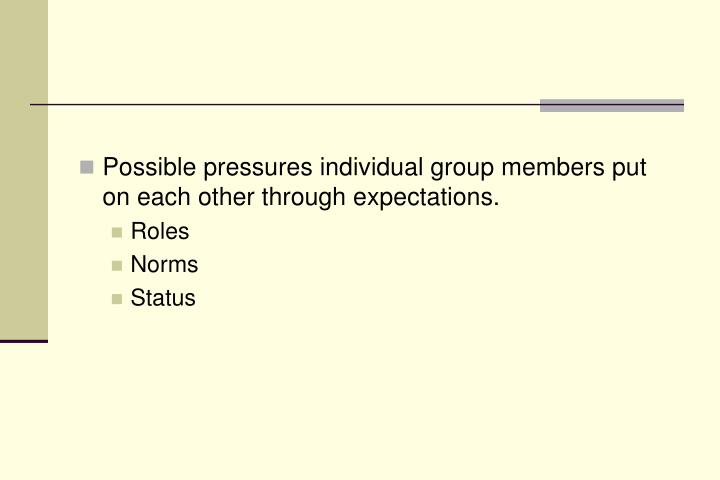 Possible pressures individual group members put on each other through expectations.
