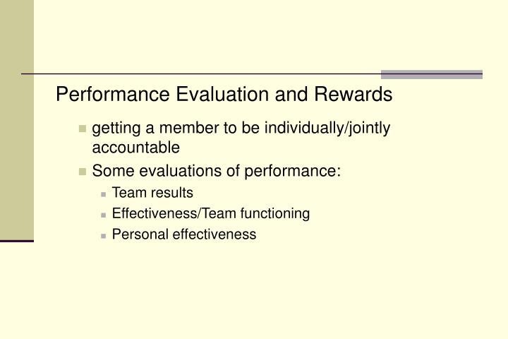 Performance Evaluation and Rewards