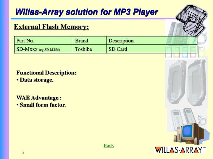 Willas-Array solution for MP3 Player