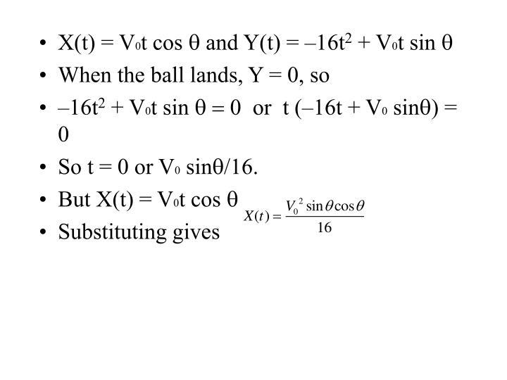 X(t) = V