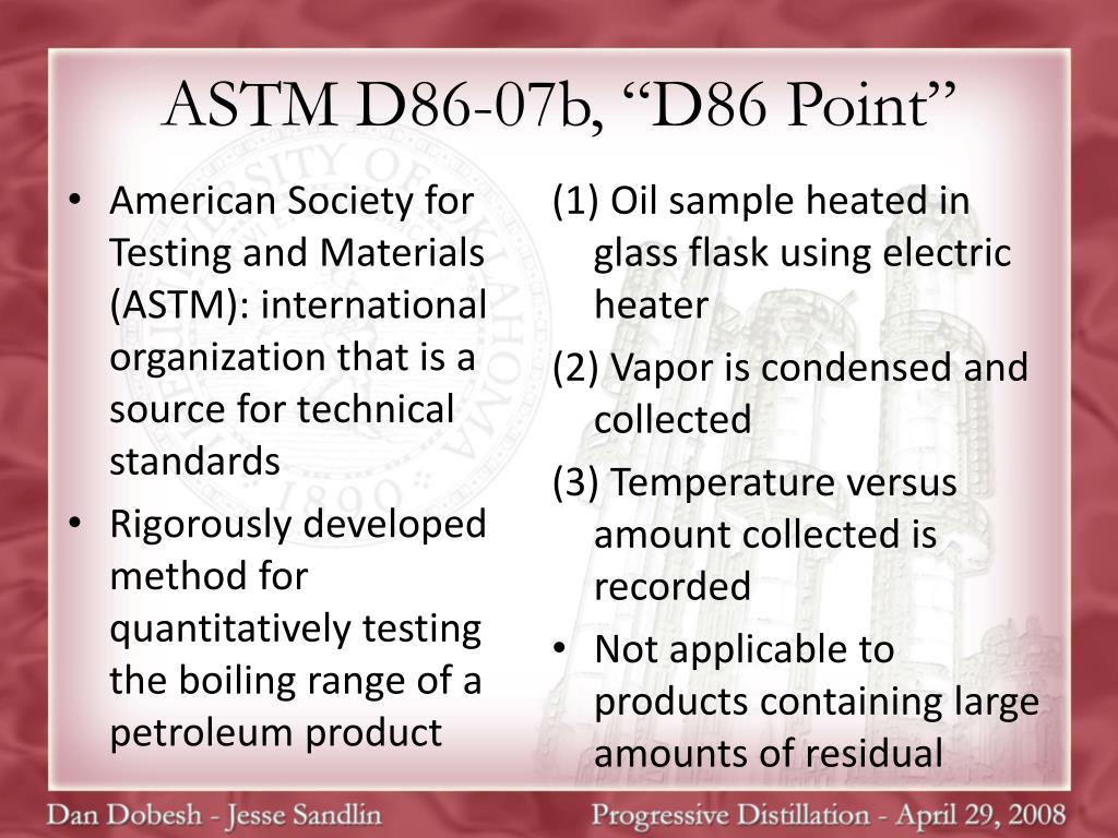"""ASTM D86-07b, """"D86 Point"""""""