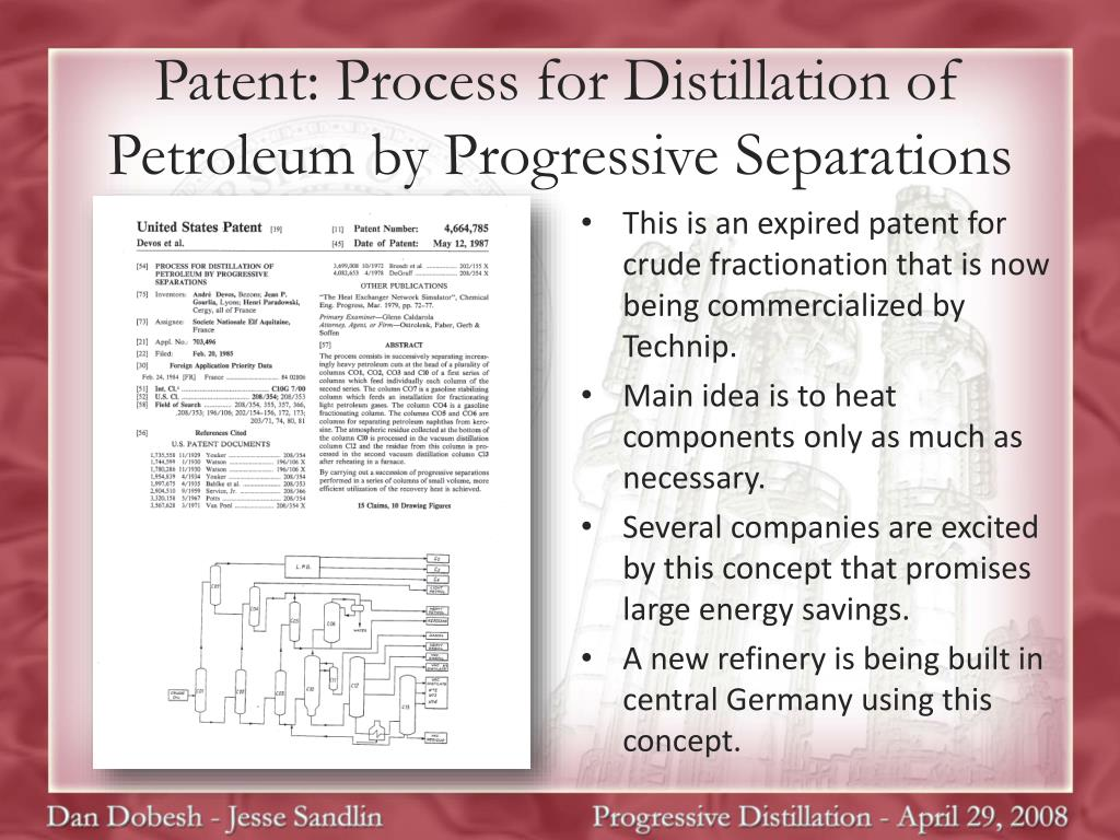Patent: Process for Distillation of Petroleum by Progressive Separations