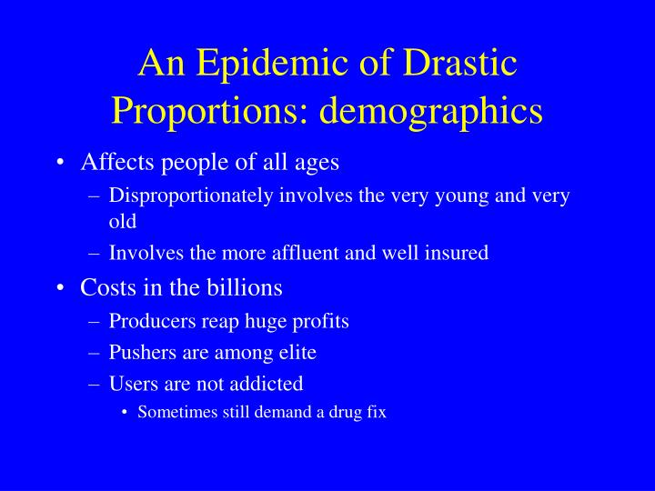 An Epidemic of Drastic Proportions: demographics