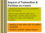 impacts of nationalism partition on women