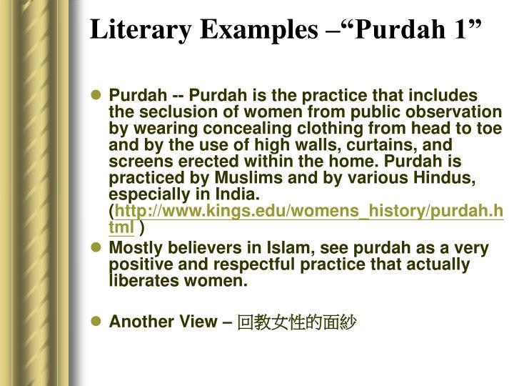 "Literary Examples –""Purdah 1"""