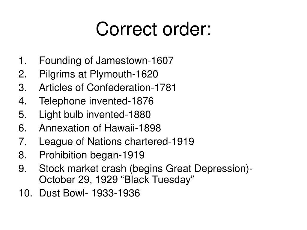 Correct order: