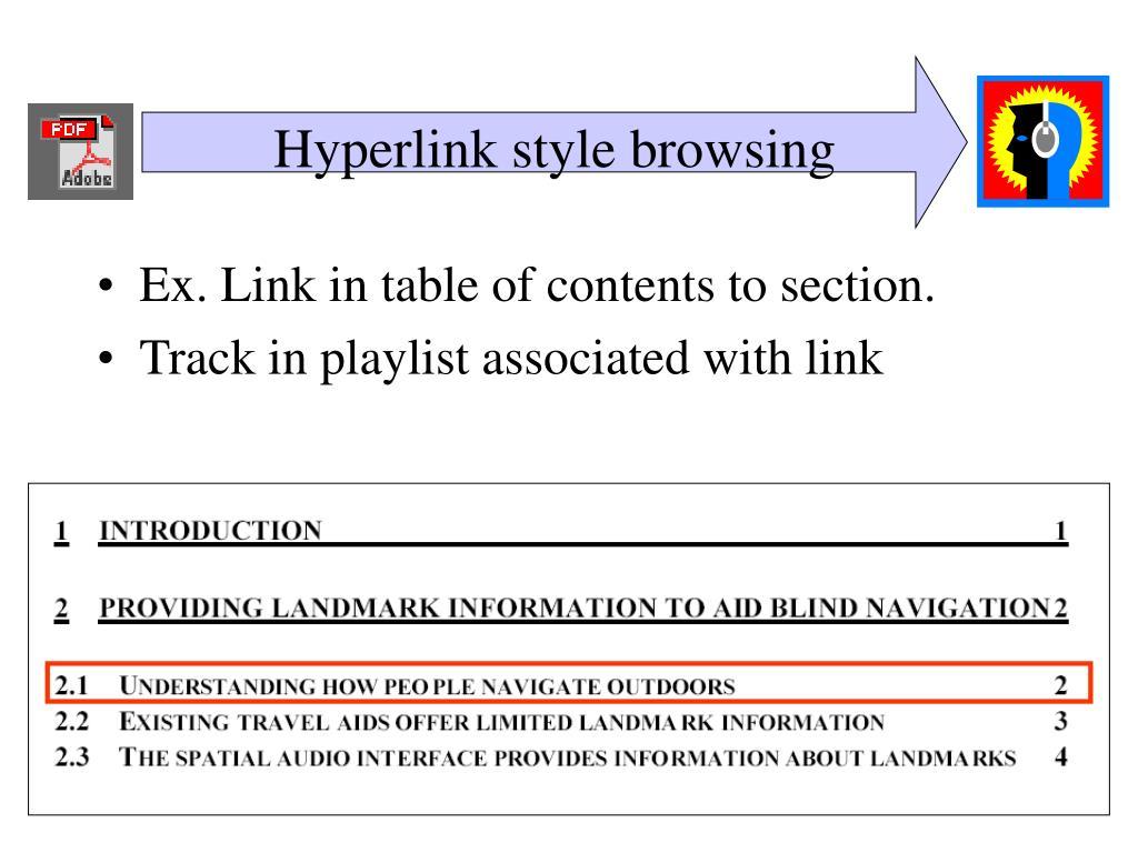 Hyperlink style browsing