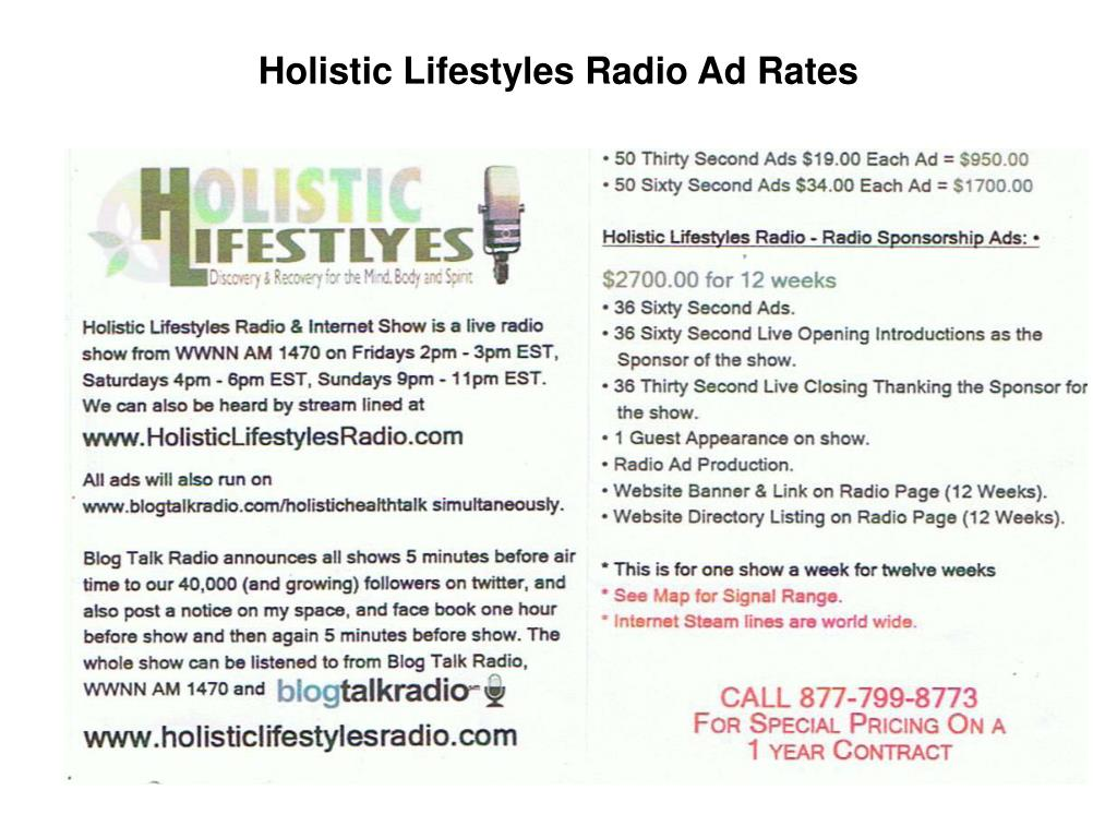 Holistic Lifestyles Radio Ad Rates