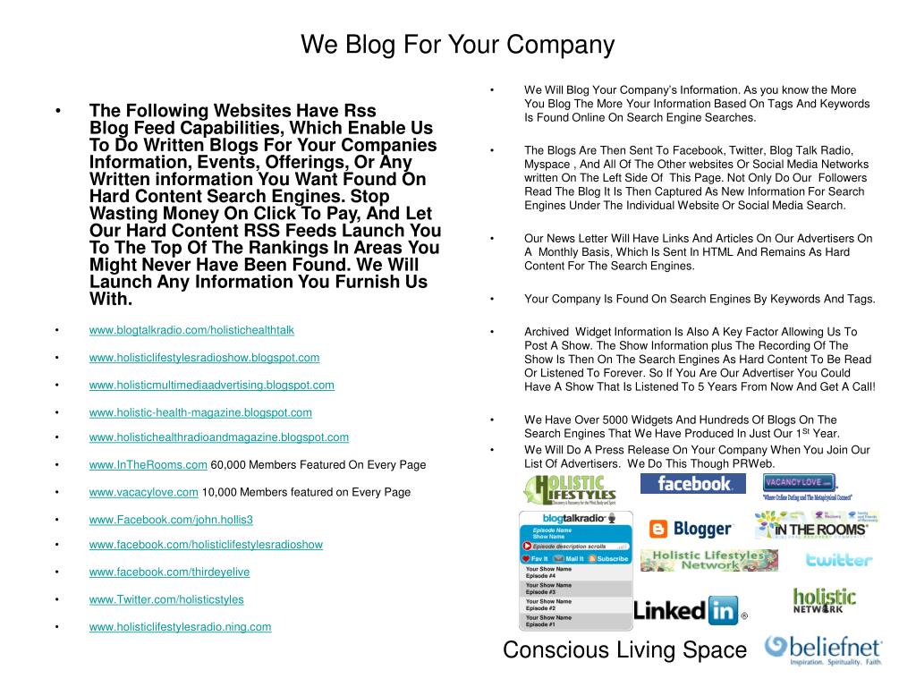 The Following Websites Have Rss Blog Feed Capabilities, Which Enable Us To Do Written Blogs For Your Companies    Information, Events, Offerings, Or Any Written information You Want Found On Hard Content Search Engines. Stop Wasting Money On Click To Pay, And Let Our Hard Content RSS Feeds Launch You To The Top Of The Rankings In Areas You Might Never Have Been Found. We Will Launch Any Information You Furnish Us With.