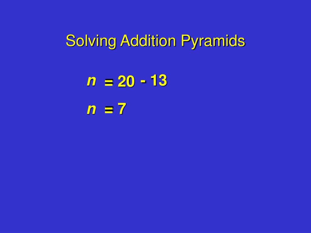 Solving Addition Pyramids