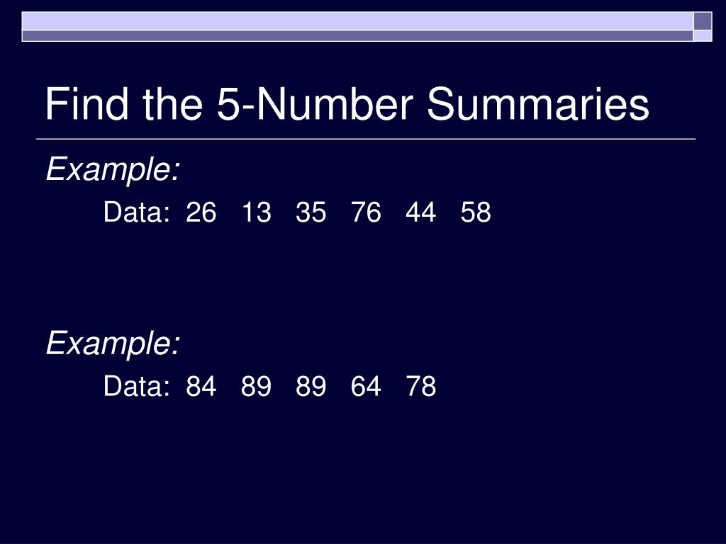 Find the 5-Number Summaries