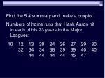 find the 5 summary and make a boxplot