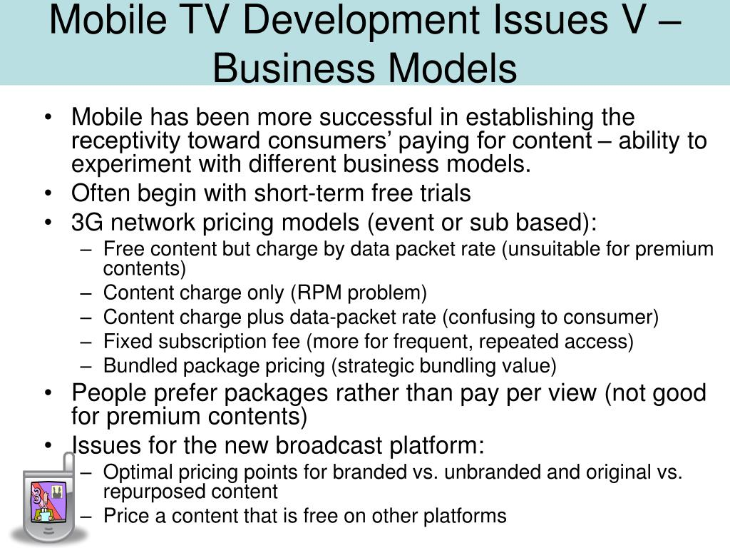 Mobile TV Development Issues V – Business Models