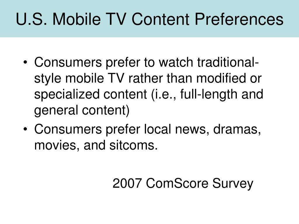U.S. Mobile TV Content Preferences