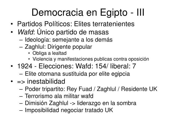 Democracia en Egipto - III