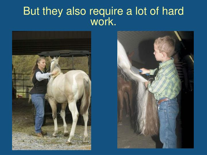 But they also require a lot of hard work.