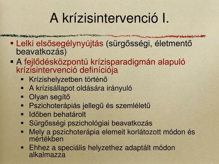 A krízisintervenció I.