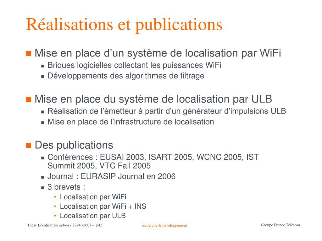 Réalisations et publications