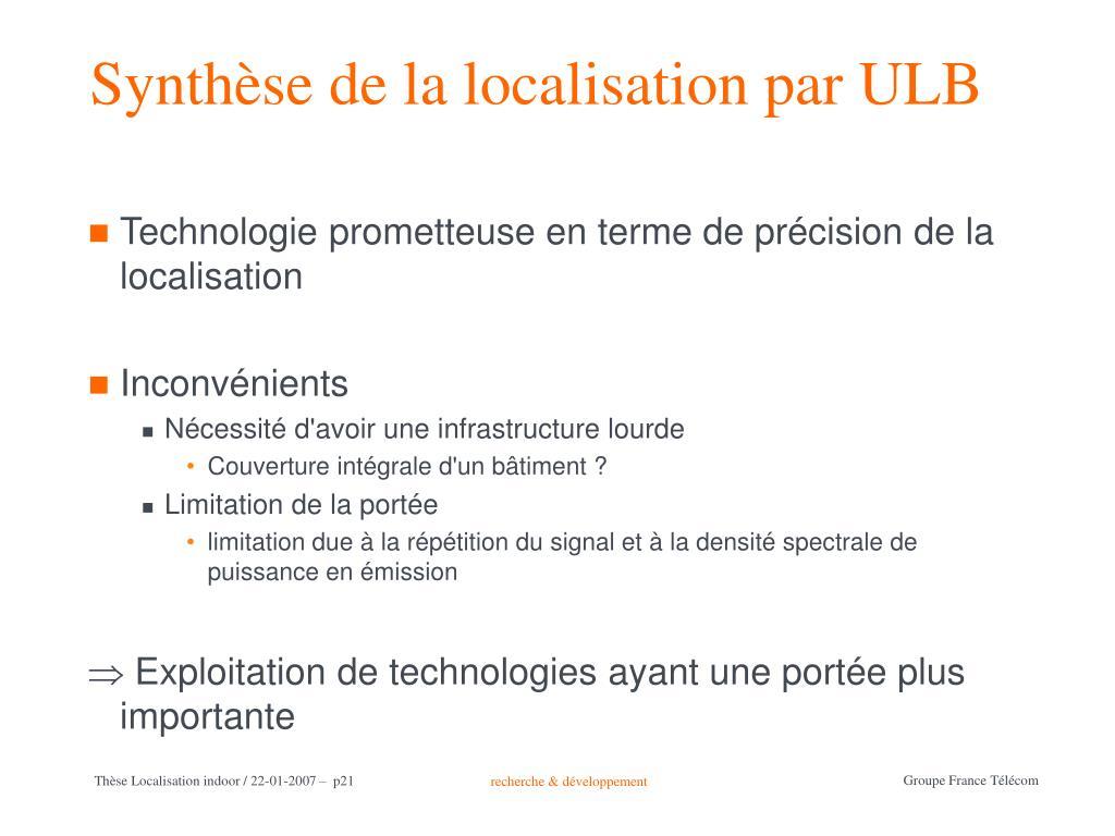 Synthèse de la localisation par ULB