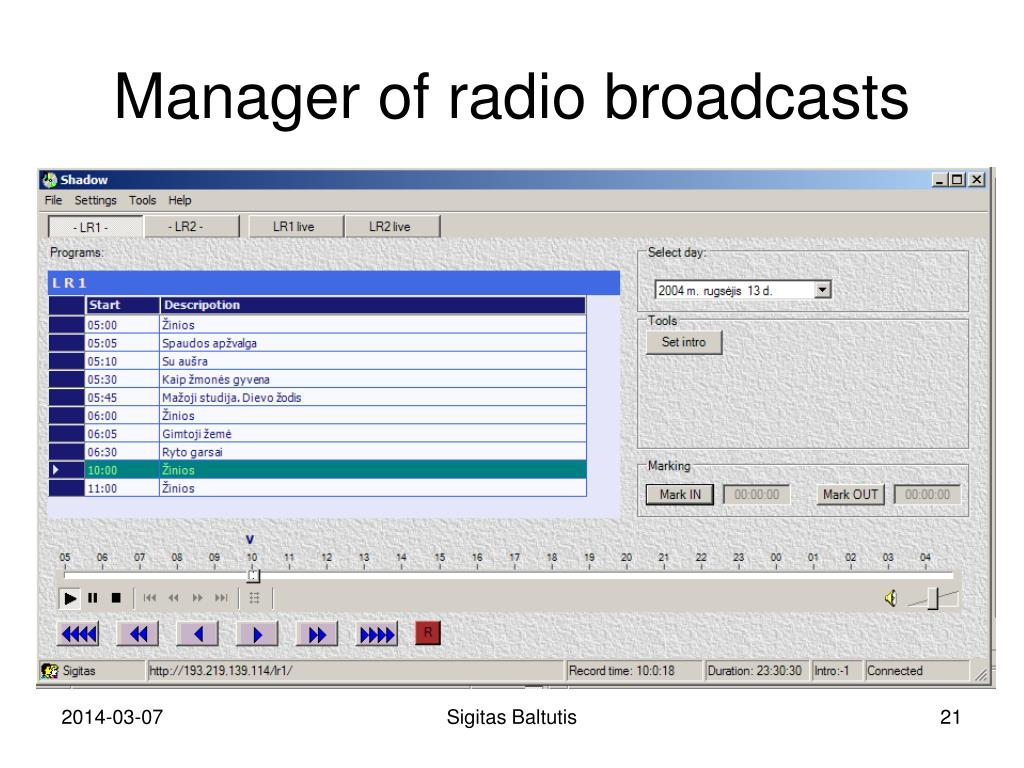 Manager of radio broadcasts