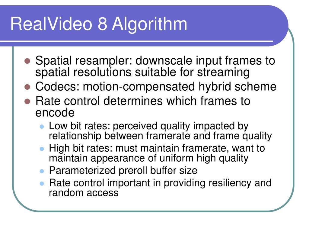 RealVideo 8 Algorithm