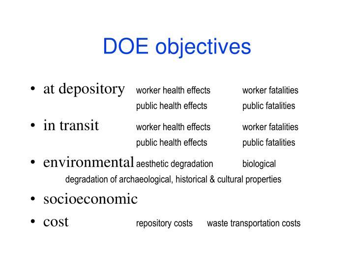 DOE objectives