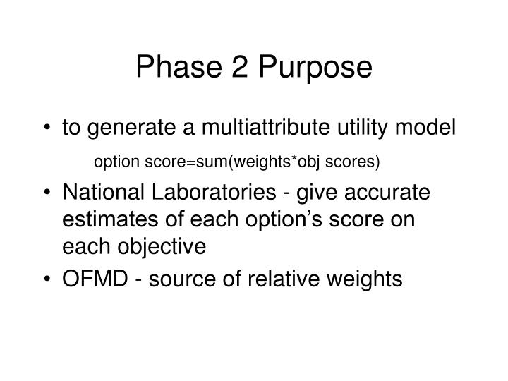 Phase 2 Purpose
