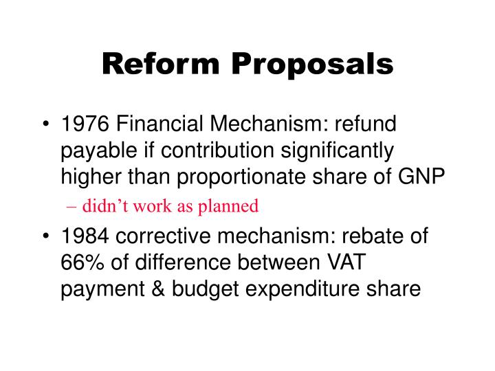 Reform Proposals