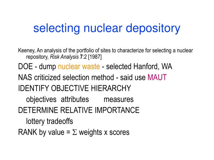 selecting nuclear depository
