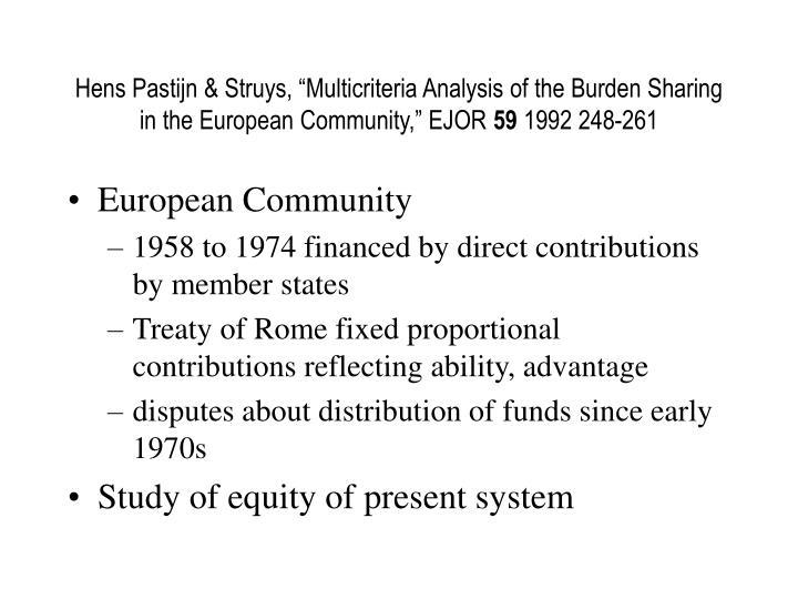 "Hens Pastijn & Struys, ""Multicriteria Analysis of the Burden Sharing in the European Community,"" EJOR"