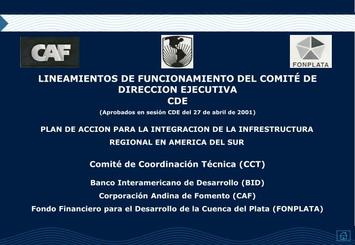 LINEAMIENTOS DE FUNCIONAMIENTO DEL COMITÉ DE DIRECCION EJECUTIVA