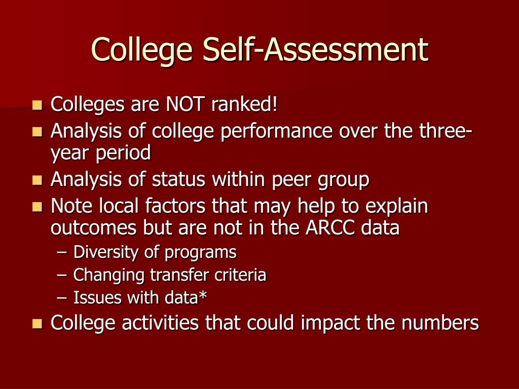 College Self-Assessment