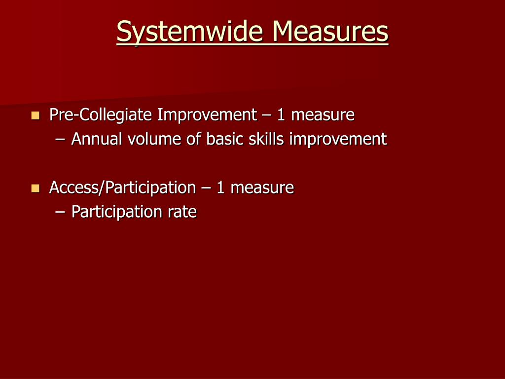 Systemwide Measures