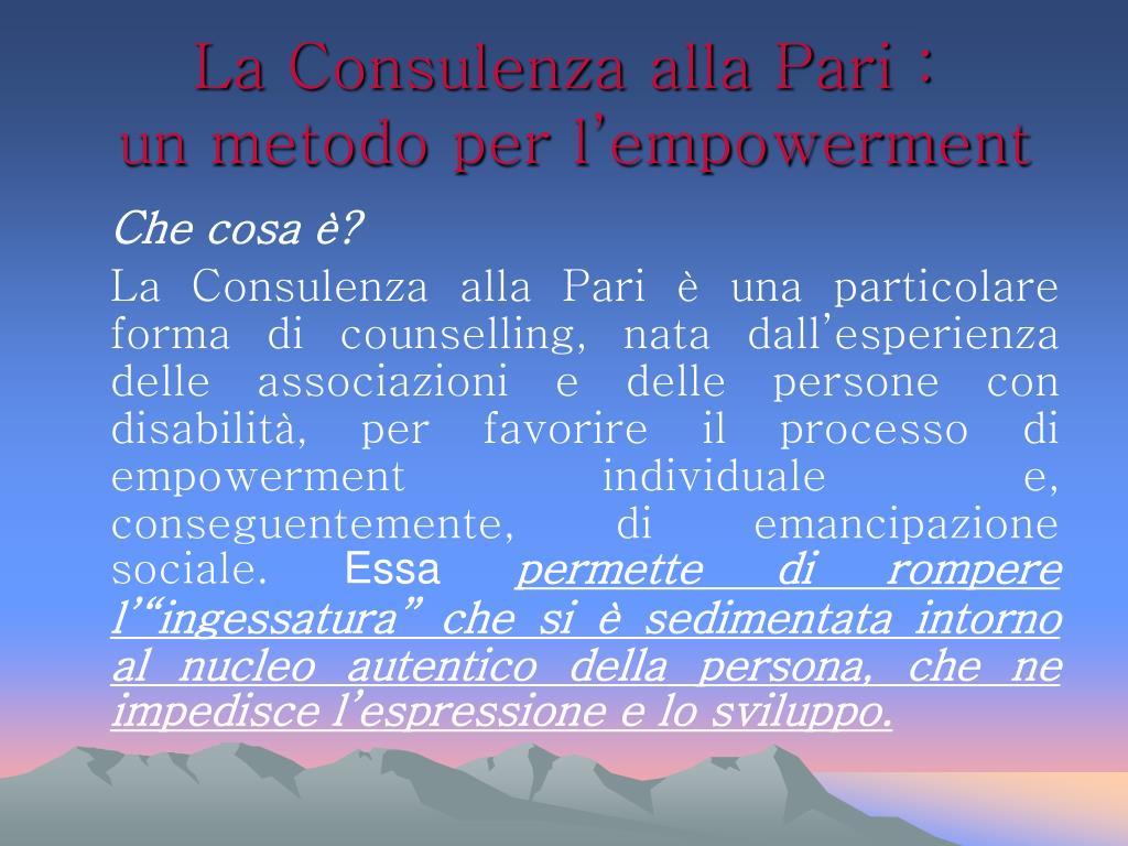 La Consulenza alla Pari :