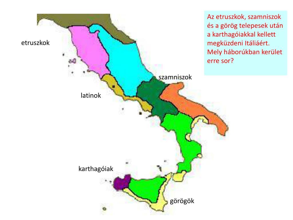 Az etruszkok, szamniszok és a görög telepesek után a karthagóiakkal kellett megküzdeni Itáliáért. Mely háborúkban kerület erre sor?
