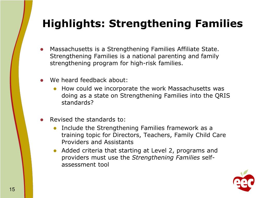 strengthening families assessment Evidence-based practices  including a program self-assessment to improve practice,  and the strengthening families national network.