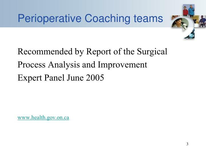 Perioperative coaching teams
