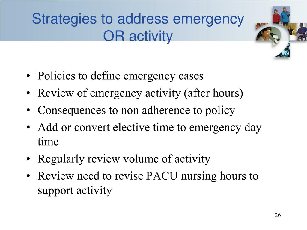 Strategies to address emergency OR activity