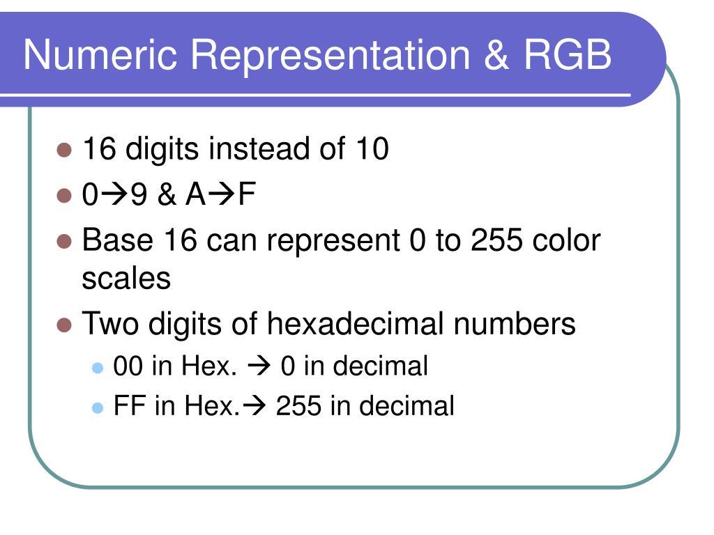 Numeric Representation & RGB