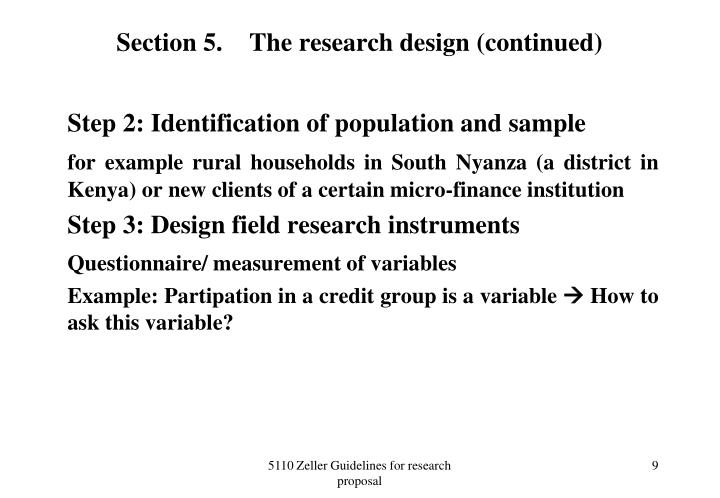 Section 5.The research design (continued)