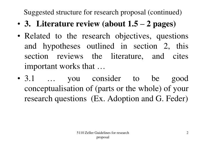 Suggested structure for research proposal continued
