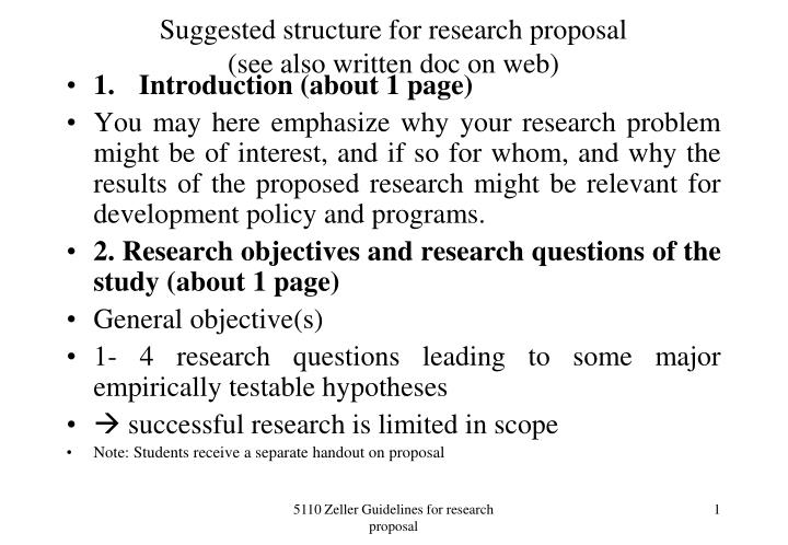 Suggested structure for research proposal see also written doc on web