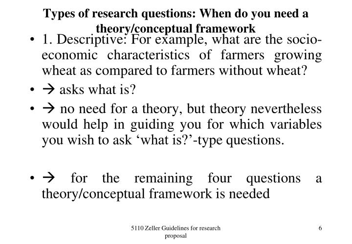 Types of research questions: When do you need a theory/conceptual framework
